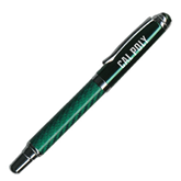 Carbon Fiber Green Rollerball Pen-Calpoly Flat Engraved
