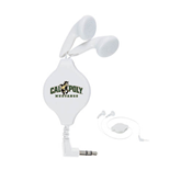 White Retractable Ear Buds-Calpoly Mustangs Primary Mark