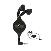 Black Retractable Ear Buds-Calpoly Mustangs Primary Mark