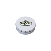 White Round Peppermint Clicker Tin-Calpoly Mustangs Primary Mark