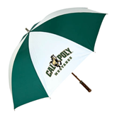 62 Inch Forest Green/White Umbrella-Calpoly Mustangs Primary Mark
