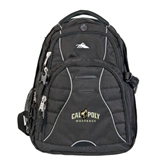 High Sierra Swerve Black Compu Backpack-Calpoly Mustangs Primary Mark