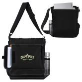 Impact Vertical Black Computer Messenger Bag-Calpoly Mustangs Primary Mark