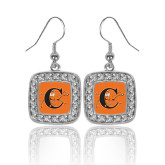 Crystal Studded Square Pendant Silver Dangle Earrings-Campbell Official Logo