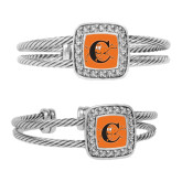 Crystal Studded Cable Cuff Bracelet With Square Pendant-Campbell Official Logo