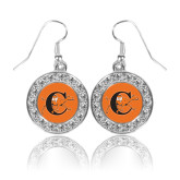 Crystal Studded Round Pendant Silver Dangle Earrings-Campbell Official Logo