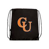 Nylon Black Drawstring Backpack-CU