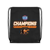 Nylon Black Drawstring Backpack-2017 Southern Conference Wrestling