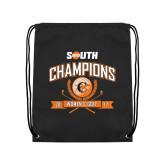 Nylon Black Drawstring Backpack-2017 Big South Champions Womens Golf