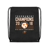 Black Drawstring Backpack-2018 Mens Soccer Big South Champions