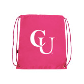 Nylon Pink Drawstring Backpack-CU