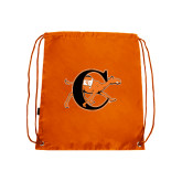 Orange Drawstring Backpack-Campbell Official Logo