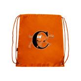 Nylon Orange Drawstring Backpack-Campbell Official Logo