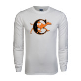 White Long Sleeve T Shirt-Campbell Official Logo - Distressed