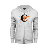 ENZA Ladies White Fleece Full Zip Hoodie-Campbell Official Logo