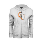 ENZA Ladies White Fleece Full Zip Hoodie-CU