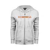 ENZA Ladies White Fleece Full Zip Hoodie-Campbell Flat