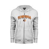ENZA Ladies White Fleece Full Zip Hoodie-Arched Campbell University