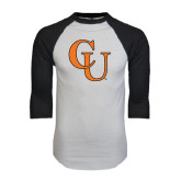 White/Black Raglan Baseball T-Shirt-CU