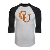 White/Black Raglan Baseball T-Shirt-CU