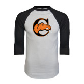 White/Black Raglan Baseball T-Shirt-C w/ Camel Head