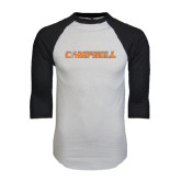 White/Black Raglan Baseball T-Shirt-Campbell Flat