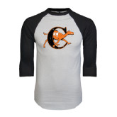 White/Black Raglan Baseball T-Shirt-Campbell Official Logo - Distressed