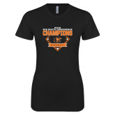 Next Level Ladies SoftStyle Junior Fitted Black Tee-2018 Baseball Champions