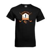 Black T Shirt-Golf Crossed Sticks Designs