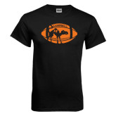 Black T Shirt-Black Cat Camel w/ Football Halloween