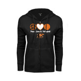 ENZA Ladies Black Fleece Full Zip Hoodie-Peace, Love and Volleyball Design