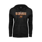 ENZA Ladies Black Fleece Full Zip Hoodie-Track and Field Design