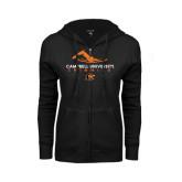 ENZA Ladies Black Fleece Full Zip Hoodie-Swimming Design