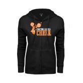 ENZA Ladies Black Fleece Full Zip Hoodie-Cheer Design