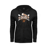ENZA Ladies Black Fleece Full Zip Hoodie-Softball Crossed Bats Design