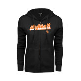 ENZA Ladies Black Fleece Full Zip Hoodie-Softball Script w/ Bat Design