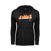 ENZA Ladies Black Fleece Full Zip Hoodie-Softball Script w/ Bat Design