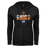 ENZA Ladies Black Fleece Full Zip Hoodie-2017 Southern Conference Wrestling