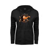 ENZA Ladies Black Fleece Full Zip Hoodie-Campbell Official Logo