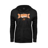 ENZA Ladies Black Fleece Full Zip Hoodie-Baseball Crossed Bats Design