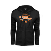 ENZA Ladies Black Fleece Full Zip Hoodie-Inside Football Ball Design