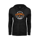 ENZA Ladies Black Fleece Full Zip Hoodie-Basketball Ball Design