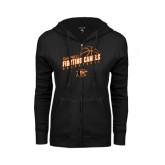 ENZA Ladies Black Fleece Full Zip Hoodie-Basketball Stacked Design