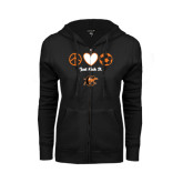 ENZA Ladies Black Fleece Full Zip Hoodie-Just Kick It Soccer Design