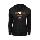 ENZA Ladies Black Fleece Full Zip Hoodie-Just Kick It Soccer Design