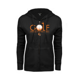 ENZA Ladies Black Fleece Full Zip Hoodie-Golf Text Design