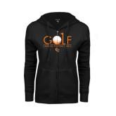 ENZA Ladies Black Fleece Full Zip Hoodie-Golf Text Design