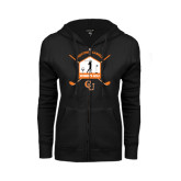 ENZA Ladies Black Fleece Full Zip Hoodie-Golf Crossed Sticks Designs