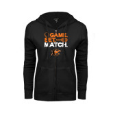 ENZA Ladies Black Fleece Full Zip Hoodie-Game Set Match Tennis Design