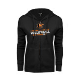 ENZA Ladies Black Fleece Full Zip Hoodie-Can You Dig It - Volleyball Design
